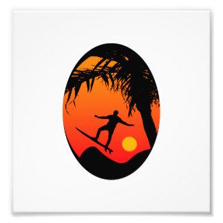 Man Surfing at Sunset Graphic Illustration Art Photo