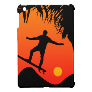 Man Surfing at Sunset Graphic Illustration Cover For The iPad Mini