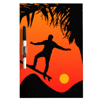 Man Surfing at Sunset Graphic Illustration Dry Erase White Board