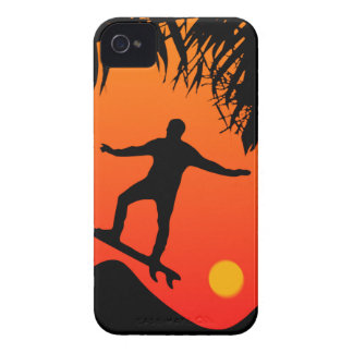 Man Surfing at Sunset Graphic Illustration iPhone 4 Covers