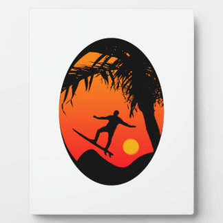 Man Surfing at Sunset Graphic Illustration Photo Plaques