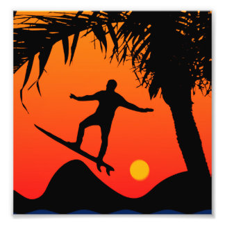 Man Surfing at Sunset Graphic Illustration Photographic Print