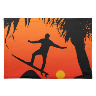 Man Surfing at Sunset Graphic Illustration Place Mats