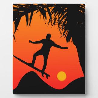 Man Surfing at Sunset Graphic Illustration Plaque