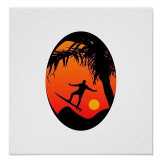 Man Surfing at Sunset Graphic Illustration Poster