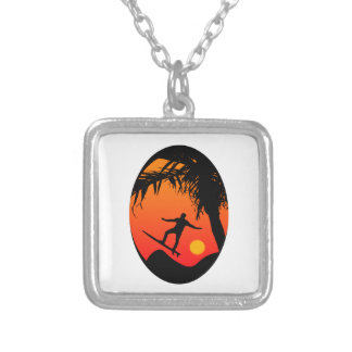 Man Surfing at Sunset Graphic Illustration Silver Plated Necklace