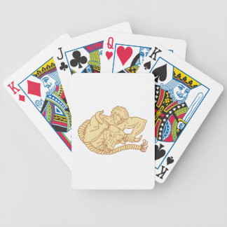 Man Taking Bull By Horns Drawing Poker Deck