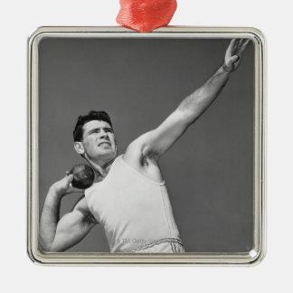 Man Throwing Shotput Metal Ornament
