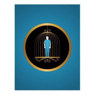 Man trapped in bird cage postcard