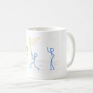 Man trying to catch money - mug