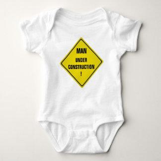 Man under construction baby bodysuit