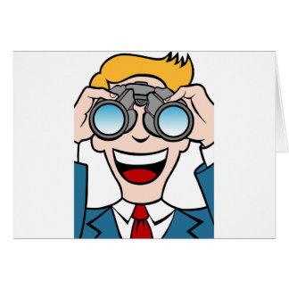 Man Using Binoculars Card