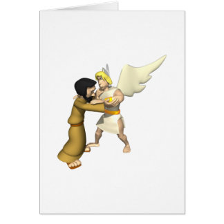 Man vs Angel Greeting Card