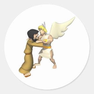 Man vs Angel Round Stickers