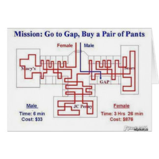 Man vs Female Shopping trip Greeting Card