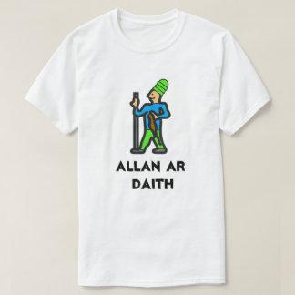 Man walking a trip and Welsh text ALLAN AR DAIT T-Shirt