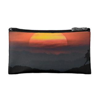 Man Walking at Mountains Landscape Illustration Makeup Bag