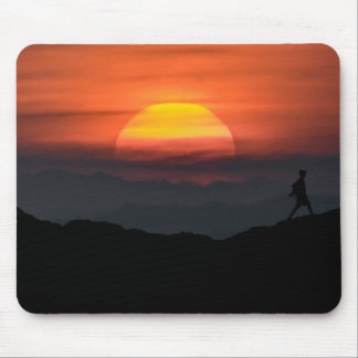Man Walking at Mountains Landscape Illustration Mouse Pad