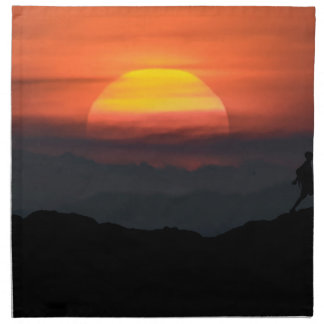 Man Walking at Mountains Landscape Illustration Napkin