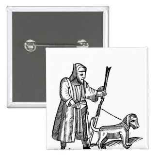 Man Walking his Dog 15 Cm Square Badge