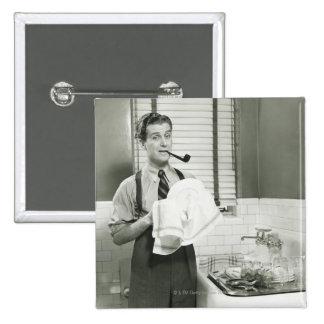 Man Washing Dishes 15 Cm Square Badge
