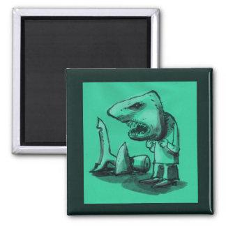 man wears shark head cartoon funny illustration magnet