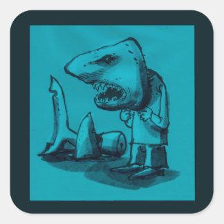 man wears shark head cartoon funny illustration square sticker