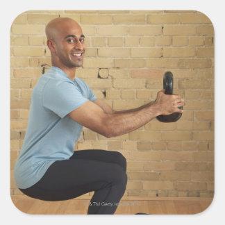 Man Weight Training Square Sticker