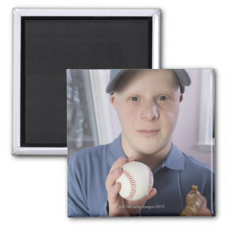 Man with a baseball glove and a baseball square magnet