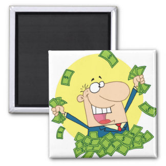 Man with a lot of money refrigerator magnet