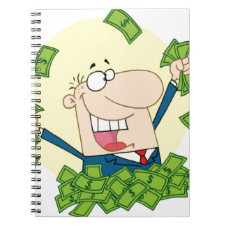 Man with a lot of money notebooks