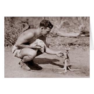 Man with Baby Kangaroo Greeting Card