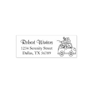 Man with Dog Driving Car Cartoon Self-inking Stamp