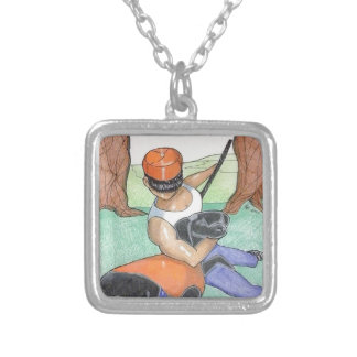 Man with dog silver plated necklace