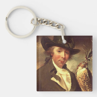 Man with Falcon Square Acrylic Keychains