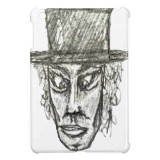 Man with Hat Head Pencil Drawing Illustration Cover For The iPad Mini
