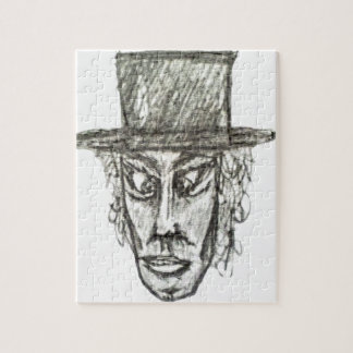 Man with Hat Head Pencil Drawing Illustration Jigsaw Puzzle
