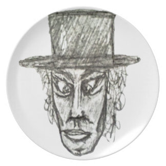 Man with Hat Head Pencil Drawing Illustration Plates