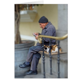 Man with His Cat - Reading the Newspaper Card