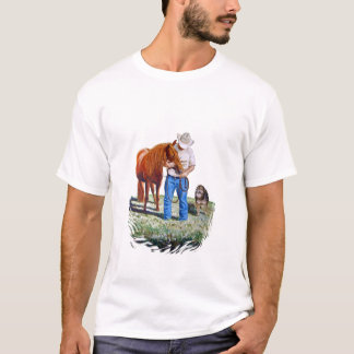 Man with his horse and dog tshirt. T-Shirt