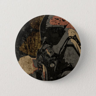 Man with protective mask on dark metal plate 6 cm round badge
