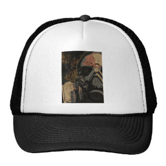 Man with protective mask on dark metal plate cap