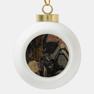 Man with protective mask on dark metal plate ceramic ball christmas ornament