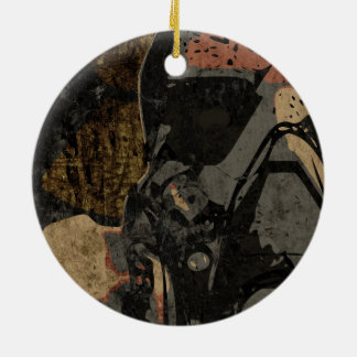 Man with protective mask on dark metal plate ceramic ornament