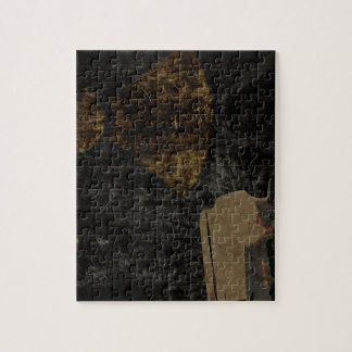 Man with protective mask on dark metal plate jigsaw puzzle