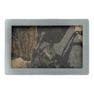Man with protective mask on dark metal plate rectangular belt buckle