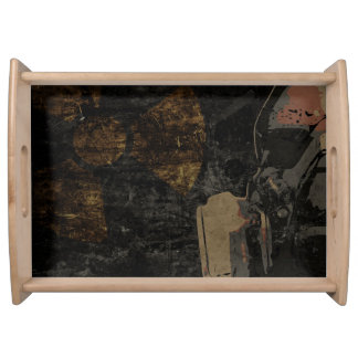 Man with protective mask on dark metal plate serving tray