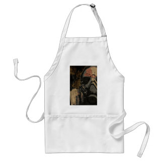 Man with protective mask on dark metal plate standard apron