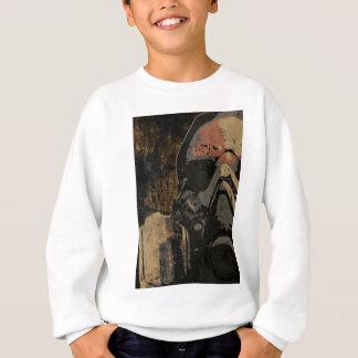 Man with protective mask on dark metal plate sweatshirt