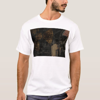Man with protective mask on dark metal plate T-Shirt